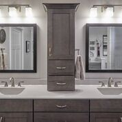 Gray Elegant Master Bathroom Specialty Cabinets doors